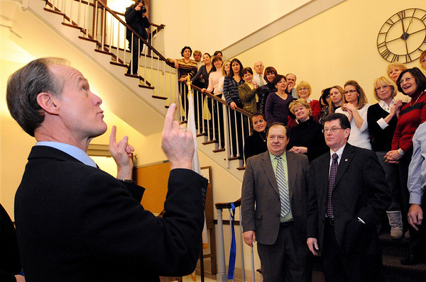 Danvers:<br /> Wayne Marquis, town manager, speaks just after the ribbon was cut during the ribbon cutting ceremony for the reopening of the town hall.<br /> Photo by Ken Yuszkus/Salem News, Tuesday, February 16, 2010.