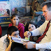 Danvers:<br /> Senator Scott Brown is reading a book to the fifth-graders at the Great Oak School. Sitting close, from left, are Madison Kidney, Damien Cordero, Megan Connant, and Annia Cote.<br /> Photo by Ken Yuszkus/Salem News, Wednesday, January 18, 2012.