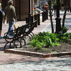 Salem:<br /> Pedestrians walk along Essex Street pedestrian mall past one of the raised flower beds.<br /> Photo by Ken Yuszkus/Salem News, Friday, May 11, 2012.