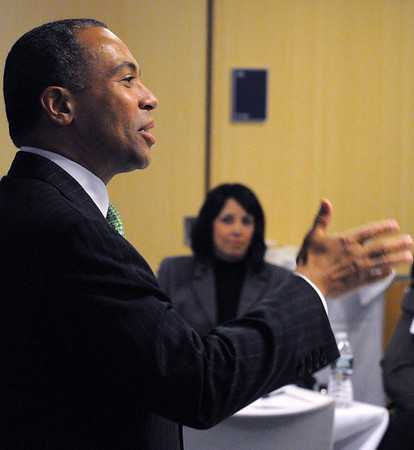 Salem:<br /> Governor Deval Patrick speaks at the Mass Mayors Association meeting held at Salem State University. Salem mayor Kim Driscoll listens in the background.<br /> Photo by Ken Yuszkus/Salem News, Wednesday, February 16, 2011.