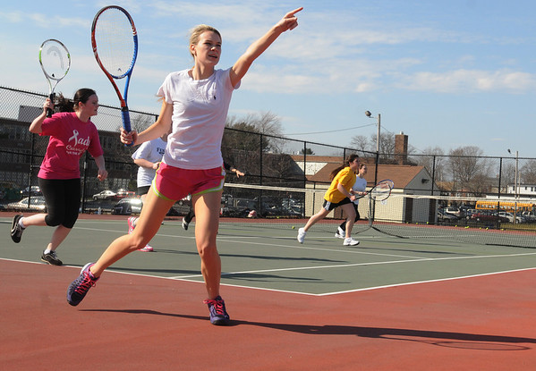 Peabody:<br /> Megan McCarthy goes through drills at the start of the season of girls tennis at Bishop Fenwick High school.<br /> Photo by Ken Yuszkus/Salem News, Monday,  March 19, 2012.