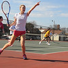 Peabody:<br /> Megan McCarthy goes through drills at the start of the season of girls tennis at Bishop Fenwick High school.<br /> Photo by Ken Yuszkus/Salem News, Monday,  March 19, 2012.