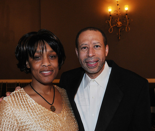 Danvers:<br /> Malynda Sykes, vocalist, and Martin Dalmasi, musician, both with Building Bridges Through Music, at the Dr. Martin Luther King Jr. Awards Dinner monday evening at the Danversport Yacht Club.<br /> Photo by Ken Yuszkus/Salem News, Monday, January 16, 2012.