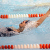 Salem:<br /> Ciara Rossi of Peabody swims the backstroke during one leg in the womens 200 yard medley relay at the Northeastern Conference swim meet at the O'Keefe Center pool at Salem State.<br /> Photo by Ken Yuszkus/Salem News, Tuesday, February 8, 2011.