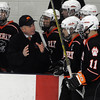North Billerica:<br /> Beverly's coach Bob Gilligan instructs his team during the Beverly High School boys hockey game in Division 2 North semifinals vs Tewksbury at the Chelmsford Forum hockey rink.<br /> Photo by Ken Yuszkus/Salem News, Tuesday March 8, 2011.