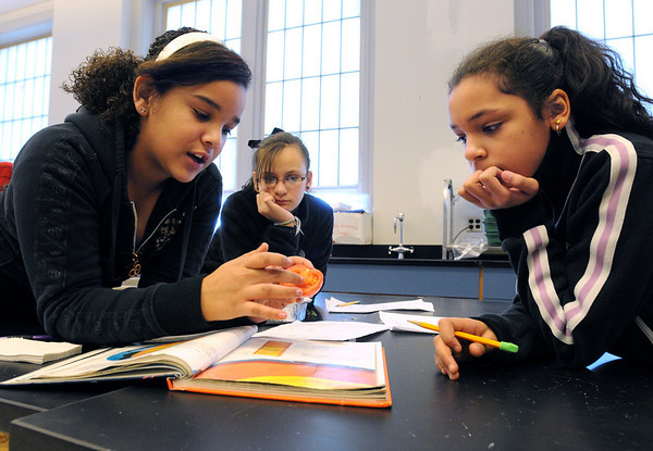 Salem:<br /> From left, Tatiyanna Correa, Samantha Costa, and Naica Luca, all 6th grade students at the Collins Middle School, examine a tomato, as well as an orange and egg, to choose an appropriate model of the earth.<br /> Photo by Ken Yuszkus/Salem News, Friday, January 29, 2010.