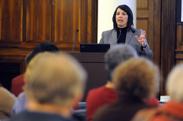 Salem:<br /> Mayor Kim Driscoll is the opening speaker at the first in a series of forums about the future of the Essex St. pedestrian mall. It was held at the Salem Five Community Room.<br /> Photo by Ken Yuszkus/Salem News, Tuesday, January 11, 2011.