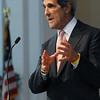Wenham:<br /> Senator John Kerry gives speech at A. J. Gordon Memorial Chapel at Gordon College.<br /> Photo by Ken Yuszkus/Salem News, Monday,  March 19, 2012.
