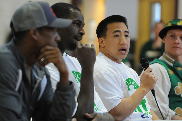 Salem:<br /> From left, Rajon Rondo, Celtics point guard, Brandon Bass, Celtics forward, Bryan Doo, Celtics strength and conditioning coach, and Lucky, the Celtics mascot, were at the Bates Elementary School for the program promoting a healthy and active lifestyle.<br /> Photo by Ken Yuszkus/Salem News, Thursday,  March 8, 2012.