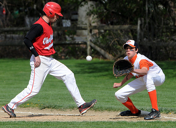 Ipswich:<br /> Masco's Greeley Lee is safe back to first base after a pick off try, with Ipswich's Jeff Carpenter on first at the Masconomet at Ipswich baseball game.<br /> Photo by Ken Yuszkus/Salem News, Thursday, April 29, 2010.