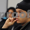 Salem:<br /> Ulises Placencio, of Salem, listens to someone speak about job searching. He is at the North Shore Career Center.<br /> Photo by Ken Yuszkus/Salem News, Tuesday December 16, 2008.
