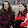 Topsfield:<br /> Maggie Coleman, left, a sophmore, and her sister Alexa Coleman, a senior, speak about the Masconomet High School football team going to the Superbowl on Saturday.<br /> Photo by Ken Yuszkus/Salem News, Wednesday, Decmber 2, 2009.