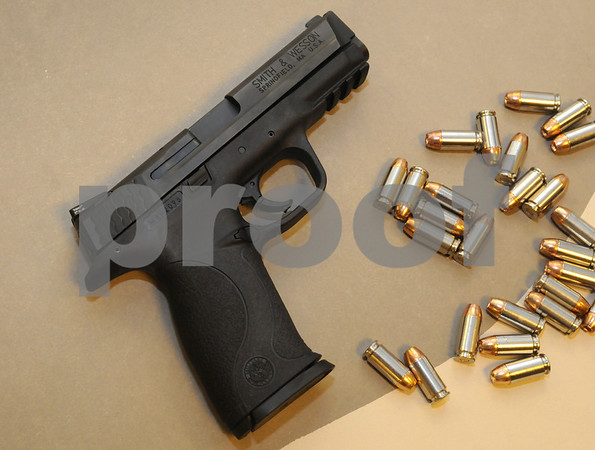 Salem:<br /> The new Smith & Wesson M+P 40 handgun which is a 40 caliber handgun. After 20 years using old guns, the Salem Police Department has bought 136 new handguns. They are starting to train with them now. <br /> Photo by Ken Yuszkus/Salem News, Wednesday September 17, 2008.