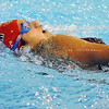 Salem:<br /> Natasha Demers of Salem swims the backstroke during one leg in the womens 200 yard medley relay at the Northeastern Conference swim meet at the O'Keefe Center pool at Salem State.<br /> Photo by Ken Yuszkus/Salem News, Tuesday, February 8, 2011.