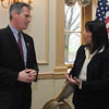 Salem:<br /> Senator Scott Brown talks with Salem Mayor Kim Driscoll at the beginning of the Salem Chamber of Commerce luncheon held at the Hawthorne Hotel.<br /> Photo by Ken Yuszkus/Salem News, Wednesday, April 20, 2011.