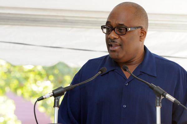 Salem:<br /> GregAlan Williams was the keynote speaker at the rededication of Salem Witch Trials memorial.<br /> Photo by Ken Yuszkus/The Salem News, Sunday, September 9, 2012.