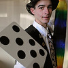 """Beverly:<br /> Mike Milan will perform a magic show for Beverly New Years. Known as """"Duct Tape"""" because he always wears clothes with duct tape. He is wearing his duct tape top hat.<br /> Photo by Ken Yuszkus/Salem News, Friday, December 11, 2009."""