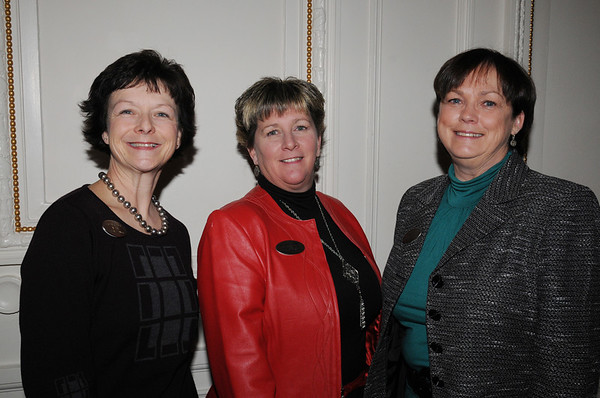 Beverly:<br /> From left, Fay Salt of the executive board, Cathy Julien, membership associate, and Robin  Foster, assistant director, all from the Beverly Chamber of Commerce, at the Beverly Chamber of Commerce breakfast held at Tupper Manor on Friday morning.<br /> Photo by Ken Yuszkus/Salem News, Friday, January 14, 2011.