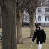 Salem:<br /> Roger Hale walks through Salem Common on a gray Tuesday afternoon.<br /> Photo by Ken Yuszkus/Salem News, Tuesday, March 22, 2011.