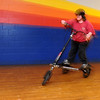Beverly:<br /> Melanie Blum of Atkinson, NH, rides the Trikke carving vehicle at the Roller Palace.<br /> Photo by Ken Yuszkus/Salem News, Sunday, March 7, 2010.