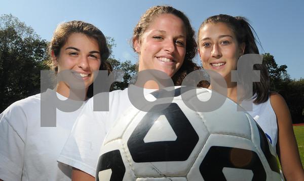 Swampscott:<br /> From left, Skylar Sabbag, Sarah Burnham, Marissa Gambale, are the captains of the Swampscott girls soccer. <br /> Photo by Ken Yuszkus/Salem News Wednesday, September 03, 2008