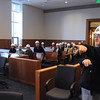 Salem:<br /> Richard L'heureux, right, manager of program and design for the trial court state system, describes features of courtroom A on the 1st floor while conducting a tour of the new state courthouse for members of the Salem Partnership.<br /> Photo by Ken Yuszkus/Salem News, Tuesday, November 31, 2011.