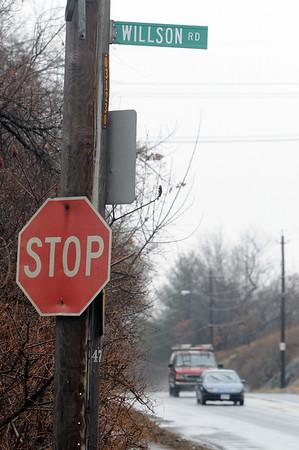Salem:<br /> Willson Road sign at Wilson Street.<br /> Photo by Ken Yuszkus/Salem News, Thursday, February 25, 2010.