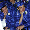 Beverly:<br /> Graduates Connor Bruce, left, and Derek Bowman listen to speakers during the Landmark School graduation.<br /> Photo by Ken Yuszkus/Salem News, Friday, June1, 2012.