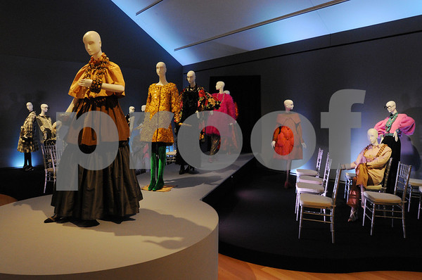 """Salem:<br /> The """"Runway"""" is one part of the exhibit by Iris Apfel, an 86-year-old fashion icon, at Peabody Essex Museum. Her exhibit is featuring more than 80 dramatic ensembles from her personal collection.<br /> Photo by Ken Yuszkus/Salem News, Thursday October 8, 2009."""