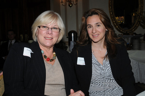Salem:<br /> Betsy Day, left, of Special Projects Consultant, LLC, and Sophia Nanis, of Operational Alignment Resources, are seated at the 6th Annual Million Dollar Women Symposium held at the Hawthorne Hotel.<br /> Photo by Ken Yuszkus/Salem News, Wednesday,  November 3, 2010.
