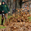 Salem:<br /> Jim Soper, of the Salem Parks and Rec. Dept., uses a leaf blower to move the leaves into piles before removing them at Salem Common.<br /> Photo by Ken Yuszkus/Salem News, Monday, November 28, 2011.
