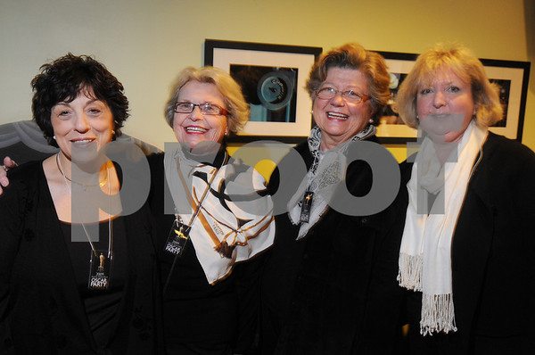 Salem:<br /> From left, Donna Scopa, Mary Jane Kelley, Mary Zappas, all of Salem, and Marcia Duffy of Marblehead, attend the Academy Award Party at Cinema Salem.<br /> Photo by Ken Yuszkus/Salem News, Sunday,  February 22, 2009.