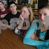 Peabody:<br /> From left, Bruno Silva, Matthew Ferry, Paul Misci, all seniors, Kelsey Incrovato and Kristen Kruczkowski, both juniors, are concerned about the ban on a once-a-month ice cream fundraiser at lunch at Peabody Veterans Memorial High School.<br /> Photo by Ken Yuszkus/Salem News, Wednesay, March 26, 2009.