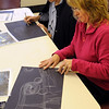 Peabody:<br /> Doris Carroll, left, and Debora Deschenes work on their pastel drawings which are copies of Vincent Van Gogh's Starry Night during the expressive panel painting workshop for adults at South Branch Library.<br /> Photo by Ken Yuszkus/Salem News,  Monday,  November 29, 2010.