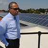 Salem:<br /> Governor Patrick tours a solar installation project on the roof of Atlantic Hall at Salem State University.<br /> Photo by Ken Yuszkus/Salem News, Thursday,  August 19, 2010.