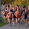 Peabody:<br /> The runners come out of the gate at the start of the girls race, during the Beverly at Peabody cross country meet.<br /> Photo by Ken Yuszkus/Salem News, Tuesday,  October 26, 2010.