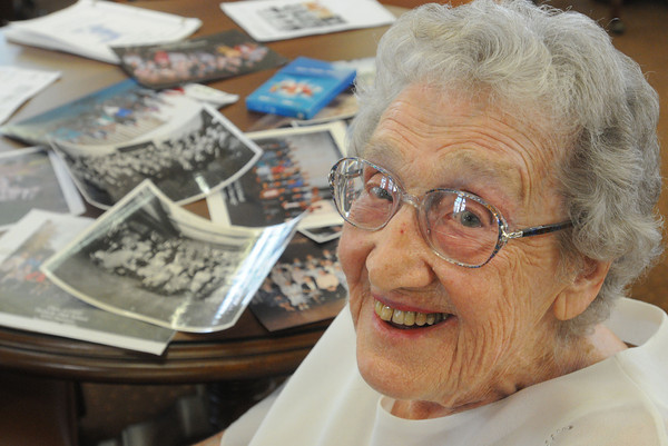 Beverly:<br /> Arline ( Fischer is her maiden name ) Nelson sits at a table with photos of past reunions. Arline  graduated in 1937 from Peabody High School. She was one of the two organizers of the reunion.<br /> Photo by Ken Yuszkus/Salem News, Tuesday, April 17, 2012.
