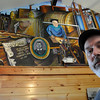 Peabody:<br /> Philip Coleman stands before the mural he painted. It was unveiled at the Peabody Leatherworkers Museum on Monday.<br /> Photo by Ken Yuszkus/Salem News, Monday, May 2, 2011.