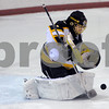 Peabody:<br /> Bishop Fenwick's goalie, Craig Forest,readies to pounce on the puck that bounced off him in front of his goal at the Bishop Fenwick vs Marblehead boys hockey game at the McVann-O'Keefe Rink.<br /> Photo by Ken Yuszkus/Salem News, Saturday December 27, 2008.