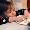 Wenham:<br /> Sydney Heiskell, 2, of Salem, decorates her gingerbread cookie with candy sprinkles at the Wenham Museum. The museum was having their fifth annual gingerbread cookie-decorating event on Wednesday afternoon.<br /> Photo by Ken Yuszkus/Salem News, Wednesday, December , 2011.