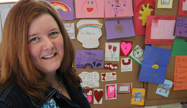 """Danvers:<br /> Patty Armstrong will distribute about 50 homemade cards to children with cancer on Saturday at the Dana Farber Cancer Institute, as part of a national """"Cards for Cancer Day."""" <br /> Photo by Ken Yuszkus/Salem News, Thursday, April 8, 2010."""