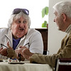 Salem:<br /> Shifra Boudreau and Frank Ryan, both on the Salem Friends of the Council on Aging, chat at a table at the Park and Recreation Department appreciation dinner which was held at the Senior Center in Salem.<br /> Photo by Ken Yuszkus/Salem News, Monday, April 11, 2011.