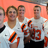 Beverly:<br /> From left, Dom Abate, Marc Babcock, Dave Rollins, Brendan Flaherty, and Kenny Pierce are this year's Beverly High School football captains.<br /> Photo by Ken Yuszkus/The Salem News, Friday, August 24, 2012.