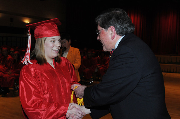 Salem:<br /> Meghan Debski, left, senior class orator, receives an Honor Society Presentation from Dr. William Cameron, Salem superintendent of schools, during the Senior Recognition Night held at Salem High School Tuesday evening. <br /> Photo by Ken Yuszkus/Salem News, Tuesday, May 17, 2011.