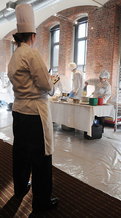 Boston:<br /> Peabody culinary students prepare their dishes under the watchful eye of one of many judges while they compete during the state Prostart competition in Boston. <br /> Photo by Ken Yuszkus/Salem News, Friday, February 11, 2011.