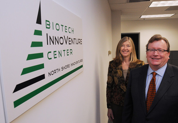 Beverly:<br /> President Martha Farmer,left, and chairman Harry McCoy, stand in the lobby of their new business, Biotech InnoVenture Center, at the Cummings Center.<br /> Photo by Ken Yuszkus/Salem News, Friday,  October 29, 2010.