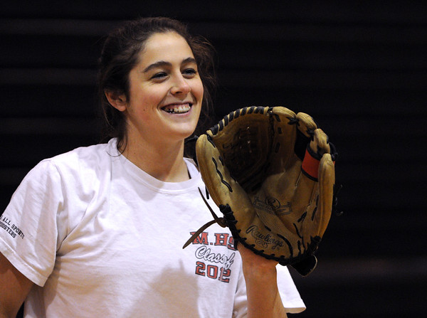 Marblehead:<br /> Kathryn Digiammarino at Marblehead girls softball practice at Veterans Middle School gym.<br /> <br /> Photo by Ken Yuszkus/Salem News, Wednesday, May 18, 2011.