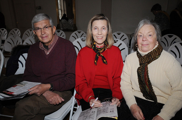 Salem:<br /> From left, Jack Miller and Jayne Miller of Marblehead, and Kathleen Nelson of Beverly at the lecture series in Hamilton Hall.<br /> Photo by Ken Yuszkus/Salem News, Thursday, March 4, 2010.