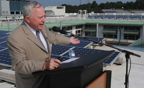 Beverly:<br /> Beverly Mayor Bill Scanlon speaks on the roof of Beverly High School during the ceremony to unveil the new solar array on the roof of the school.<br /> Photo by Ken Yuszkus/Salem News, Wednesday, September 14, 2011.