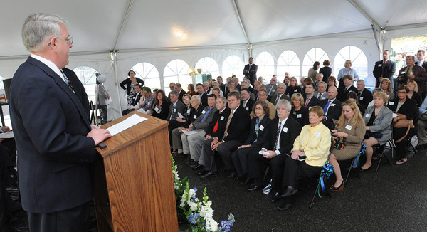 Danvers:<br /> George Harvey, chairman, Essex North Shore Agricultural & Technical School committee, speaks at the start of the Essex North Shore Agricultural & Technical School groundbreaking ceremony.<br /> Photo by Ken Yuszkus/Salem News, Wednesday, May 9, 2012.